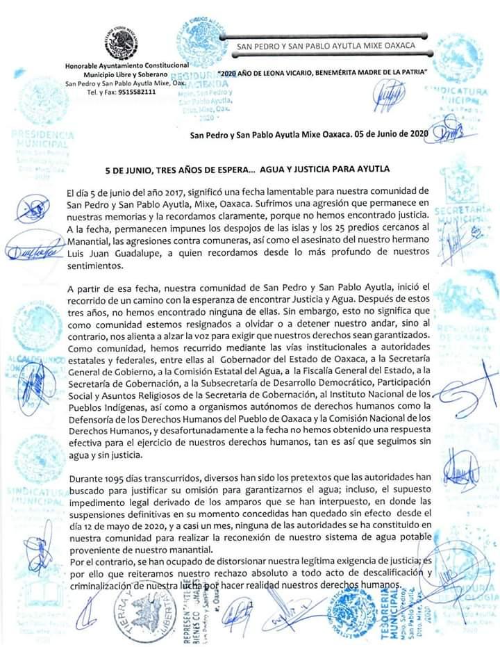 5 DE JUNIO, TRES AÑOS DE ESPERA… AGUA Y JUSTICIA PARA AYUTLA