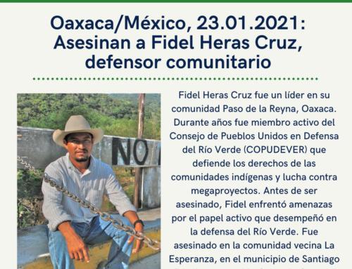 Firma la Acción Urgente: Condenamos el crimen del defensor comunitario Fidel Heras Cruz