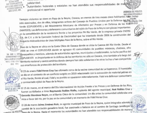 Organizaciones, pueblos, comunidades, autoridades agrarias y municipales exigimos seguridad para el ejido de Paso de la Reyna